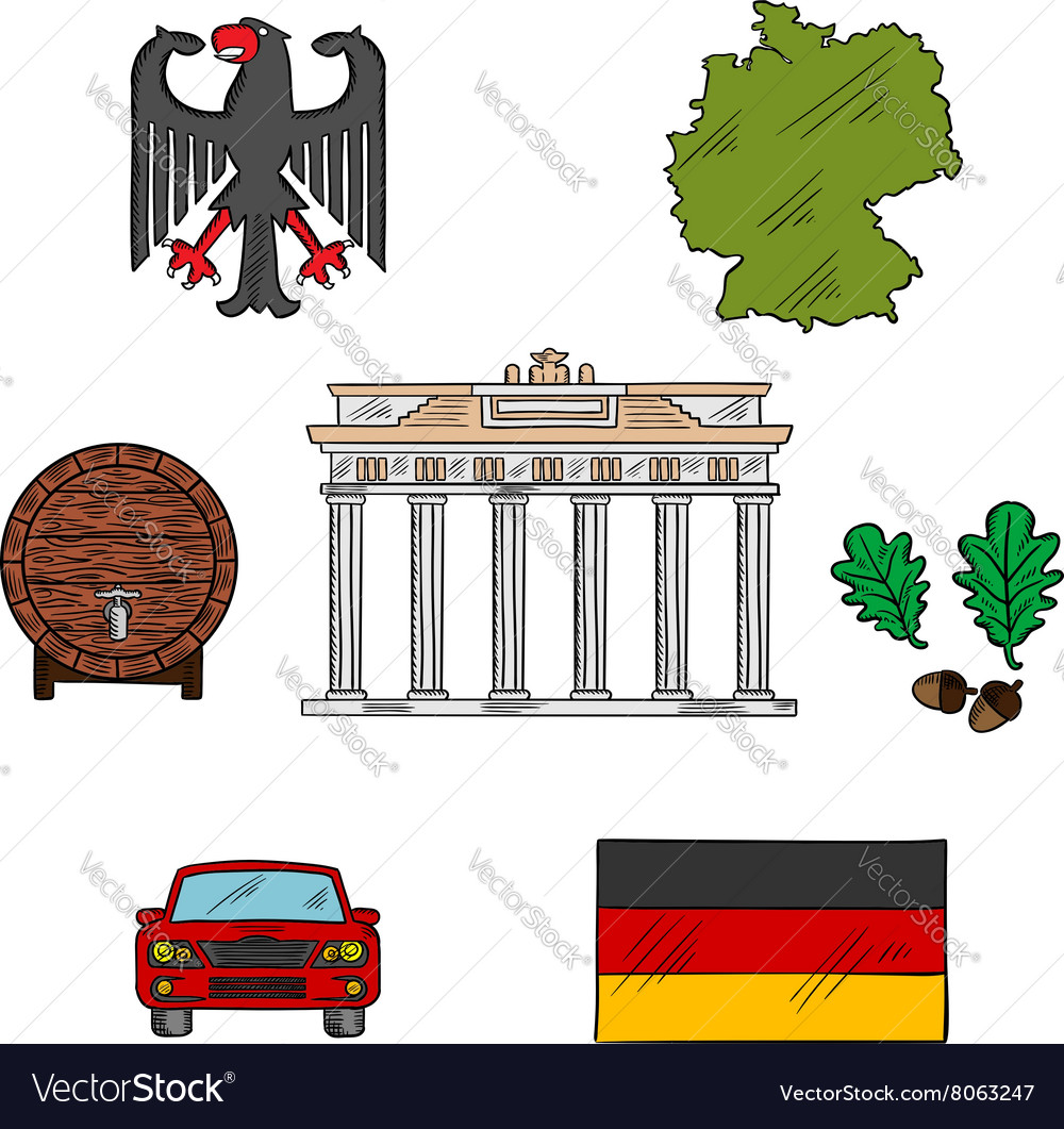 German culture and travel icons vector