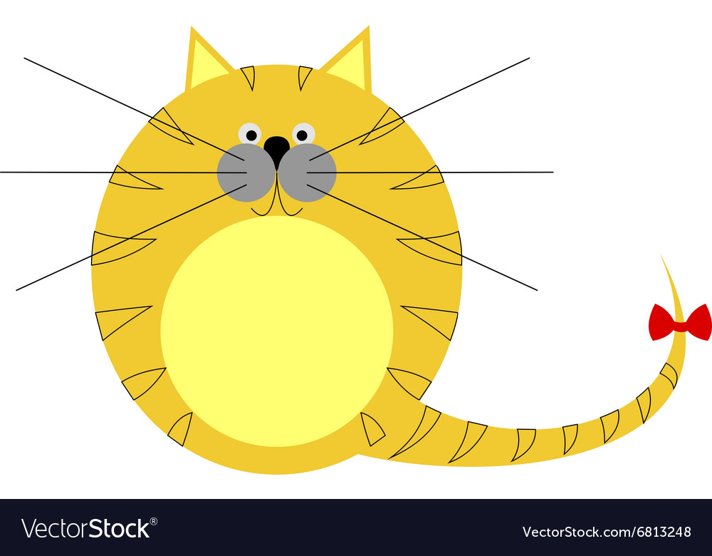 Cute thick red striped cat vector