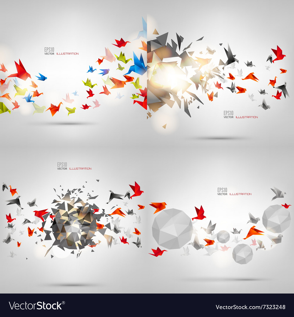 Origami paper bird on abstract background carton vector