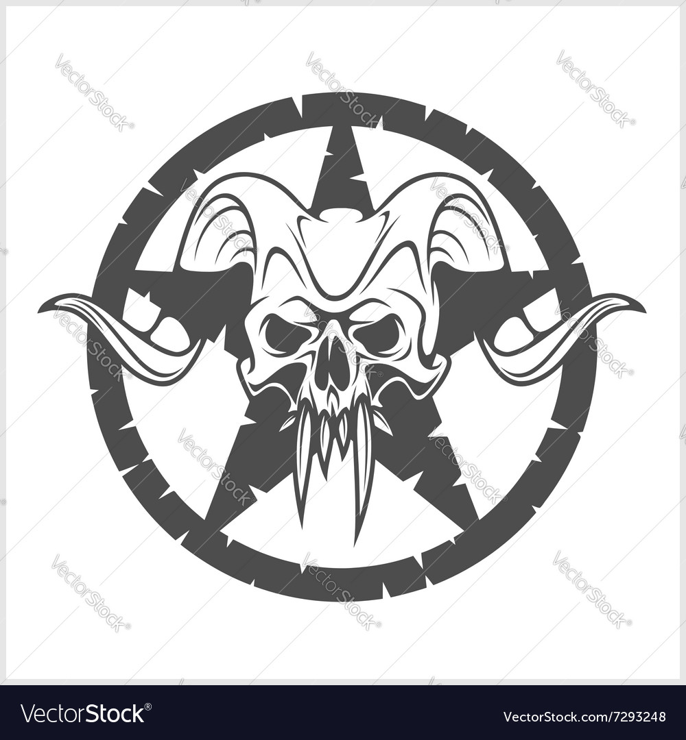 Skull in star vector