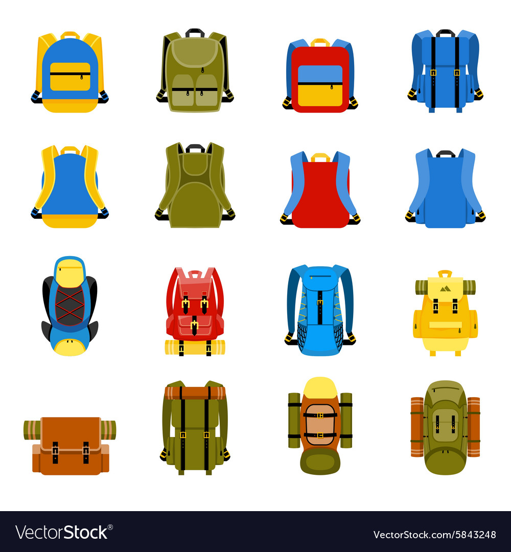 Travel backpack camping rucksack and school bag vector