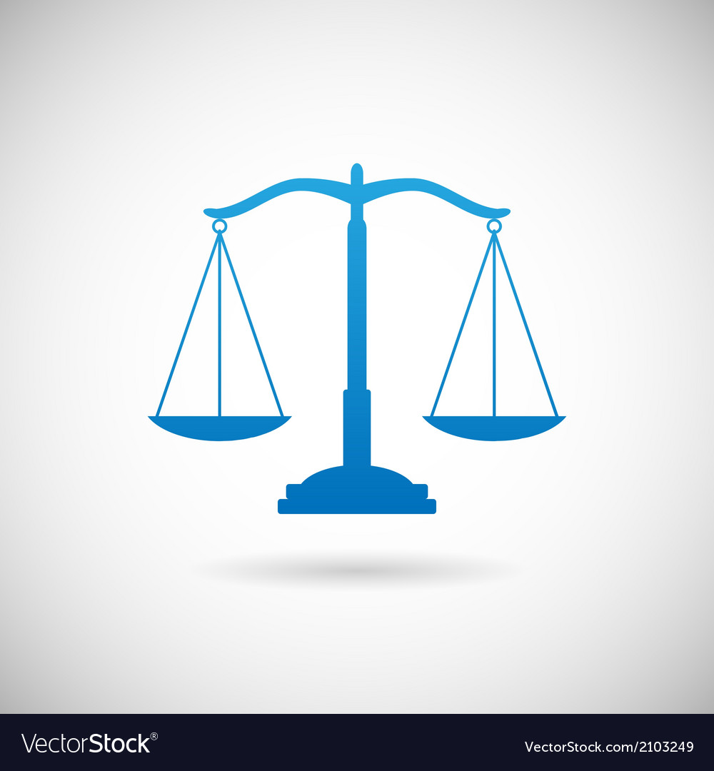 Law symbol justice scales icon design template on vector