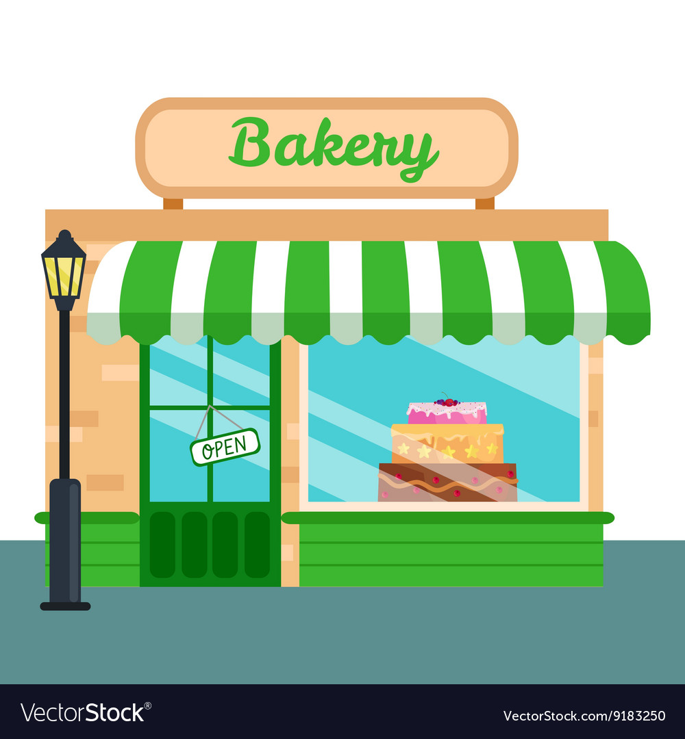 Bakery shop stores front icon flat style vector