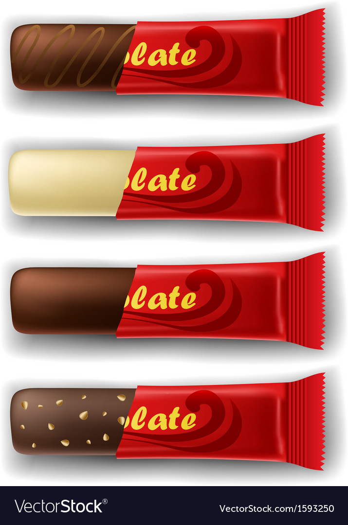 Chocolate bar in package set vector