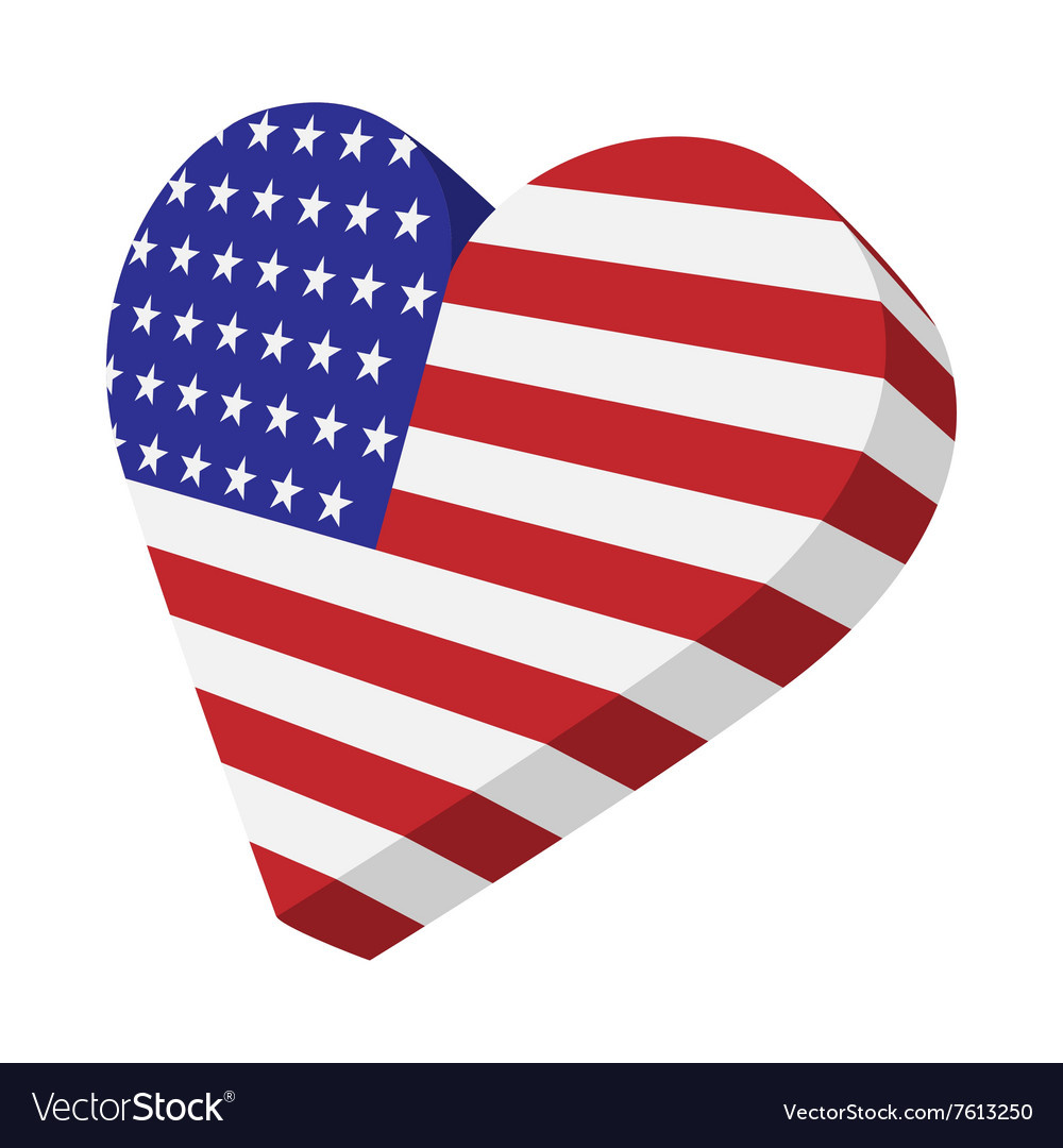 Heart in the usa flag colors cartoon icon vector
