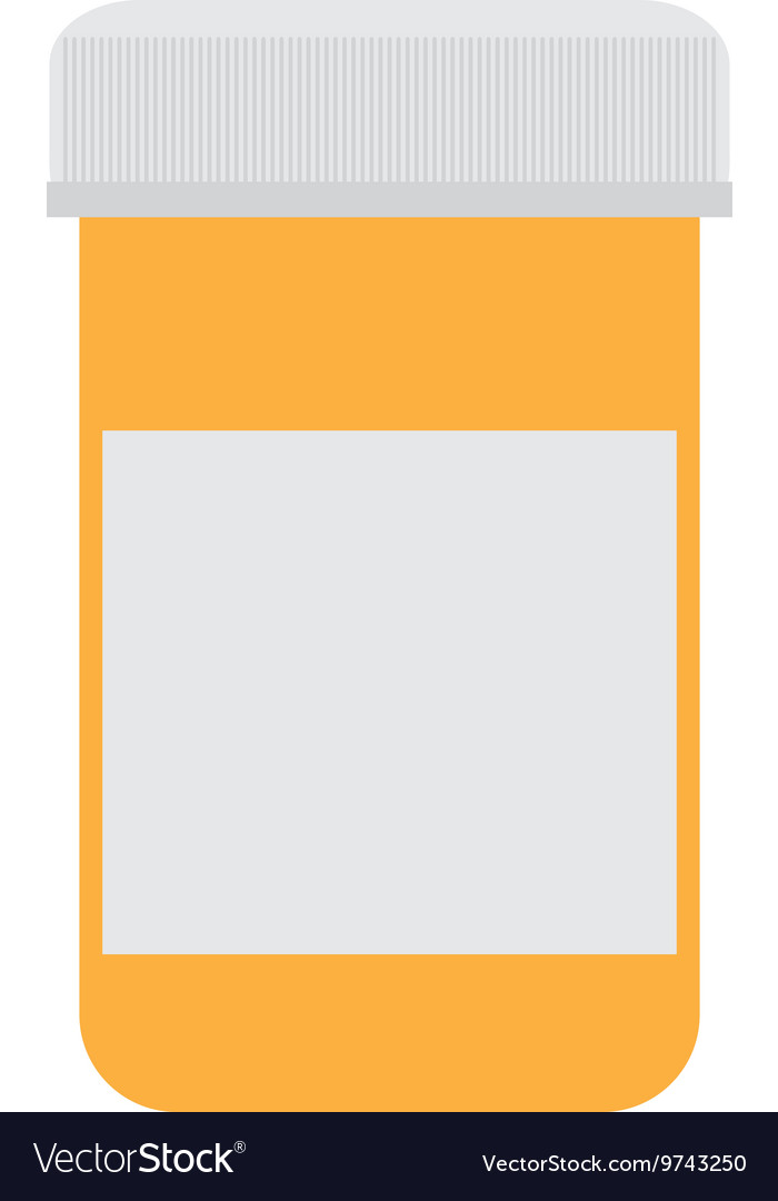 Orange medicine bottle icon vector