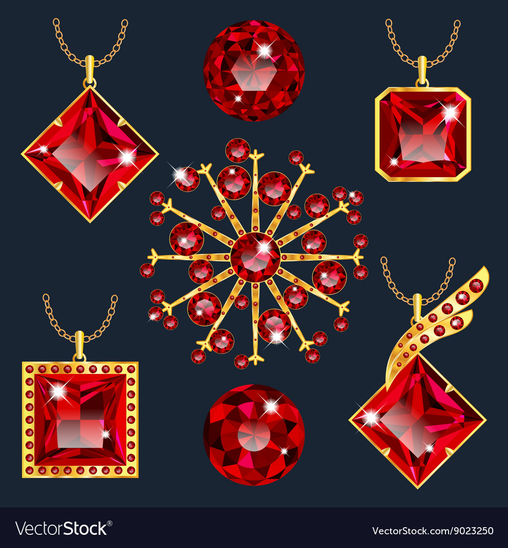 Set of red rubies pendants vector