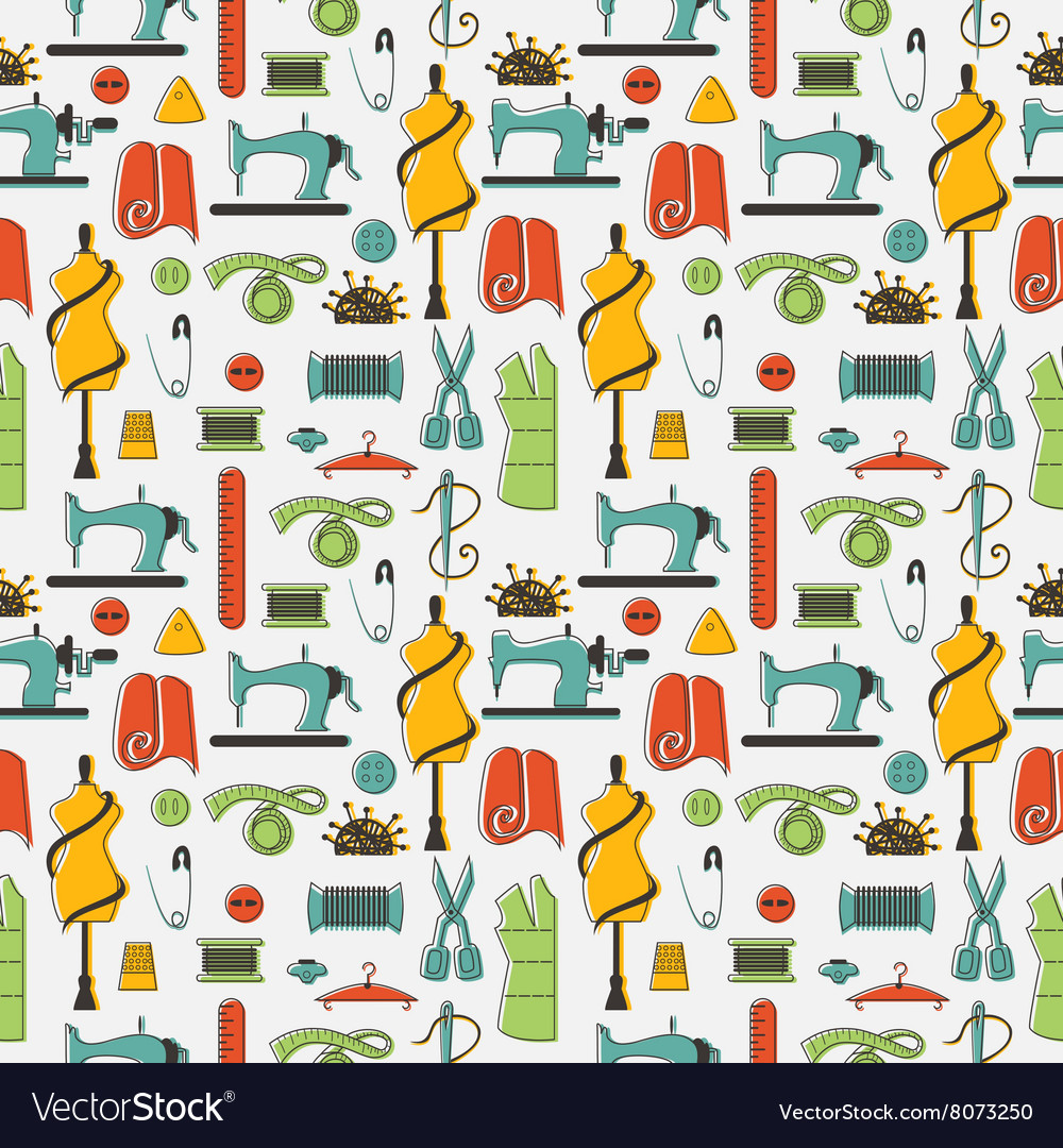 Sewing and tailor elements in seamless pattern vector