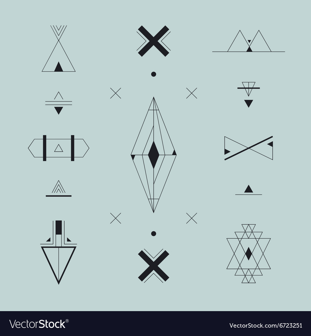 Set of trendy geometric icons logos signs vector