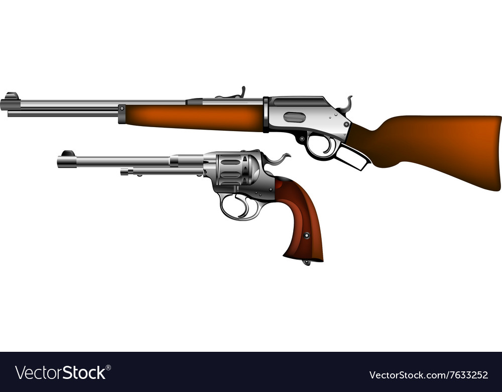 Ancient pistol and rifle vector