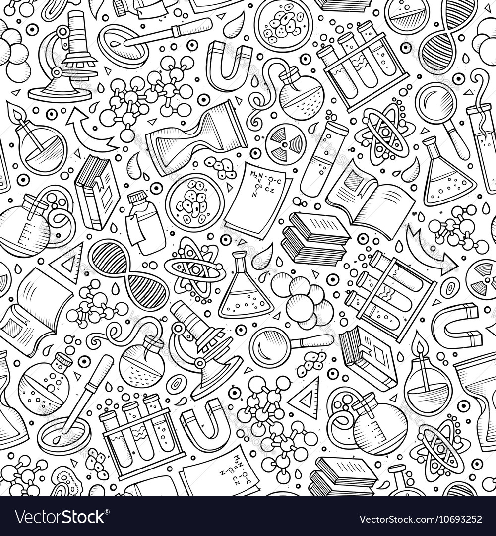 Cartoon cute hand drawn science seamless pattern vector