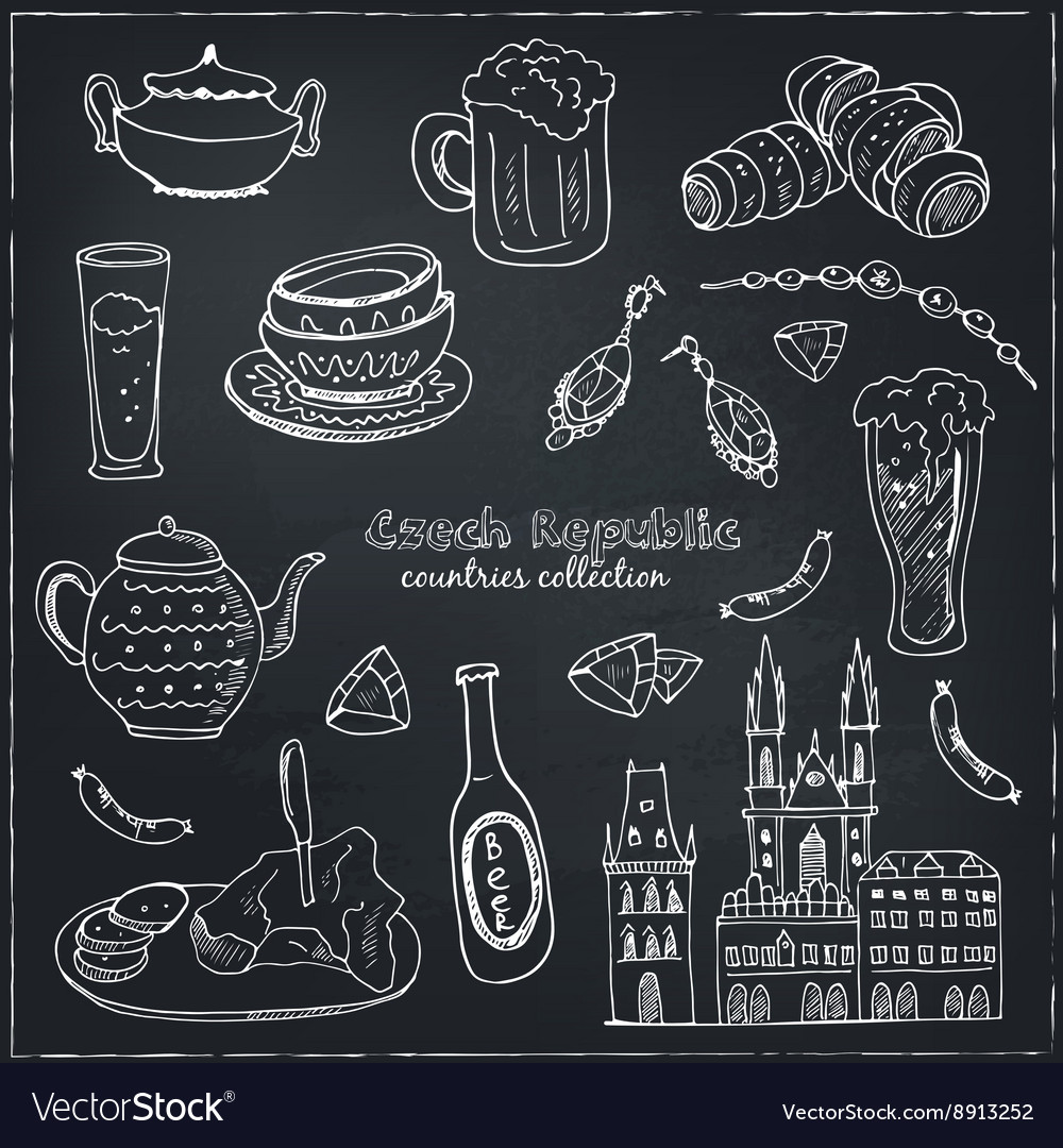 Hand drawn doodle czech republic travel set vector