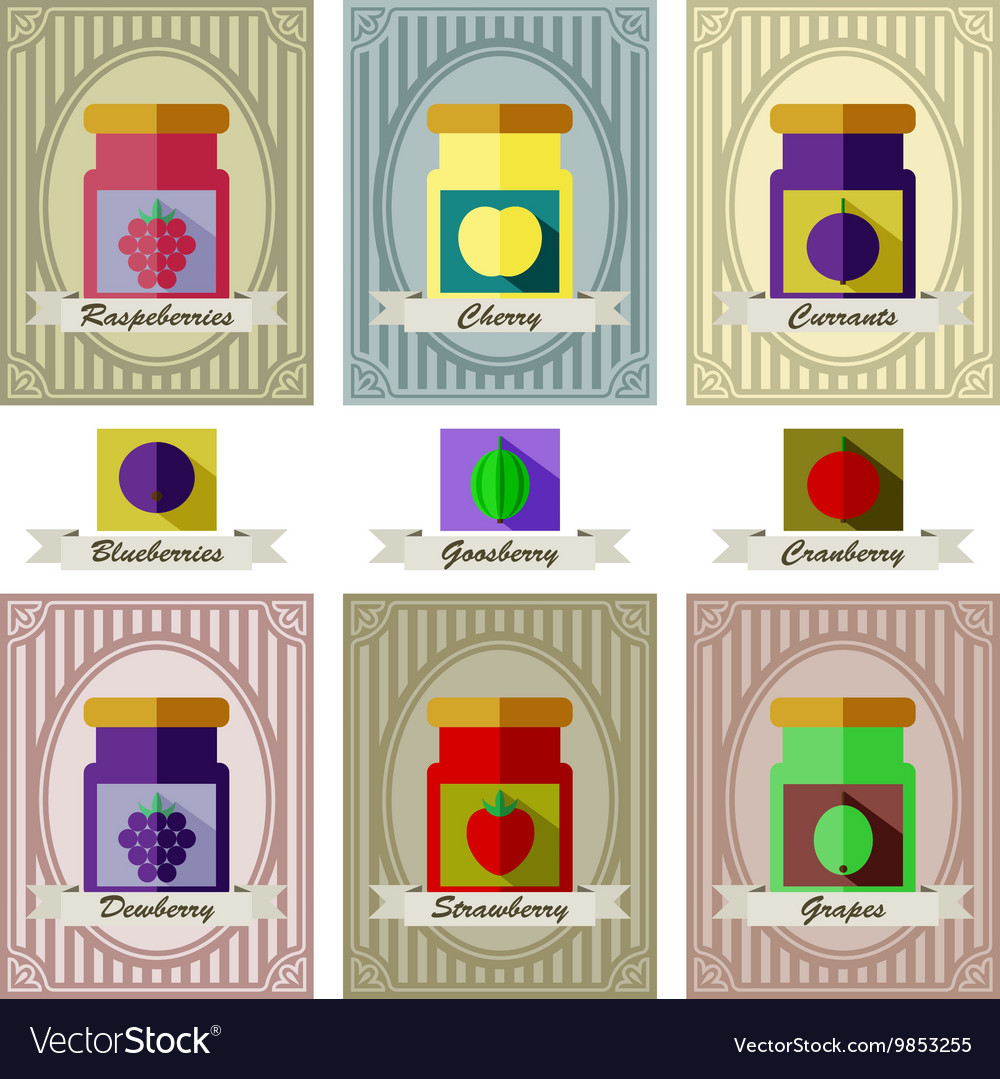 Color set of different kinds of jams with inking vector