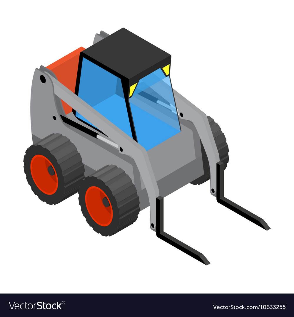 Isometric icon representing gray mini loader vector