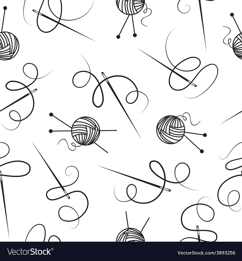 Needle thread ball of wool seamless background vector