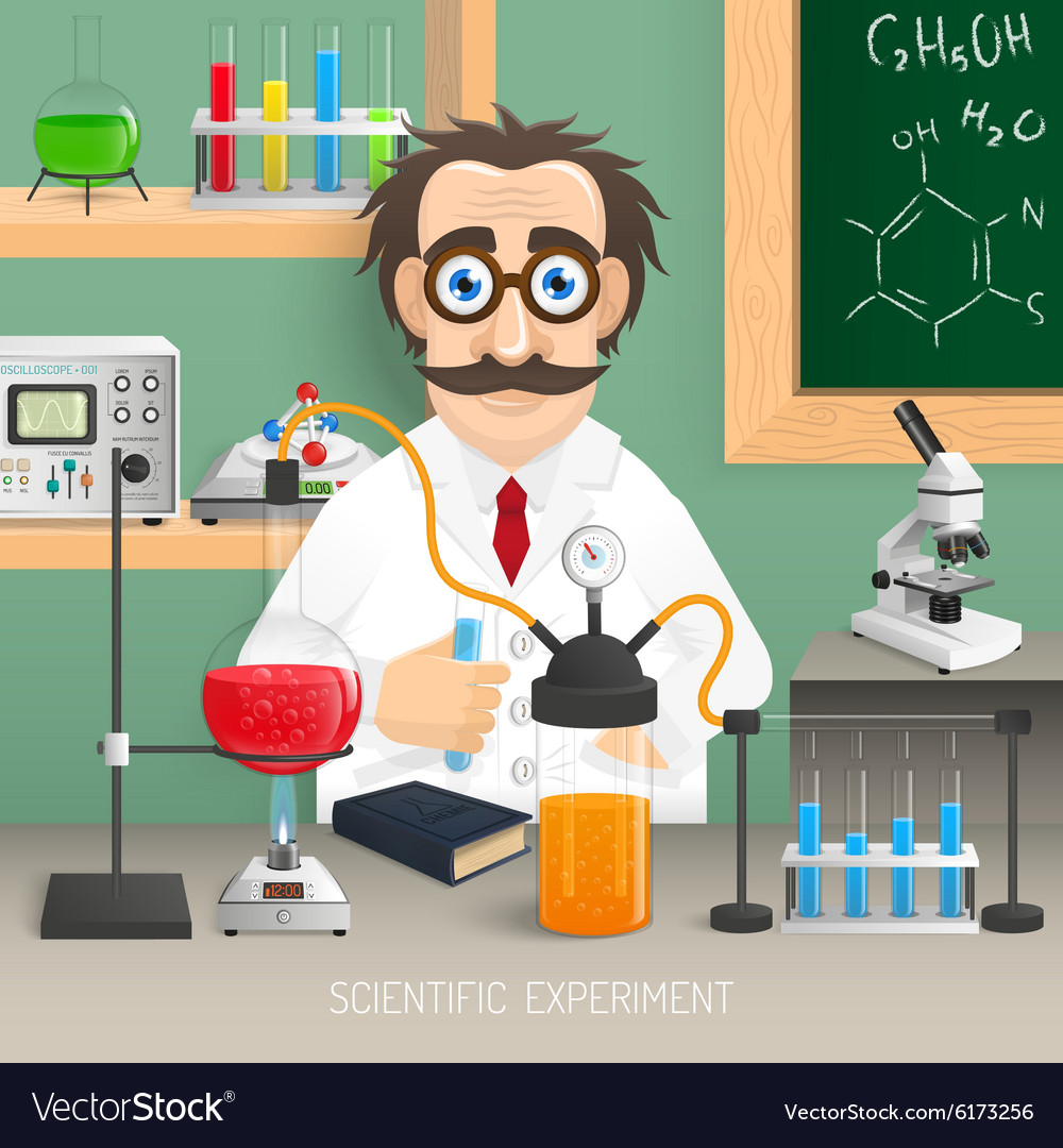 Scientist in chemistry lab vector