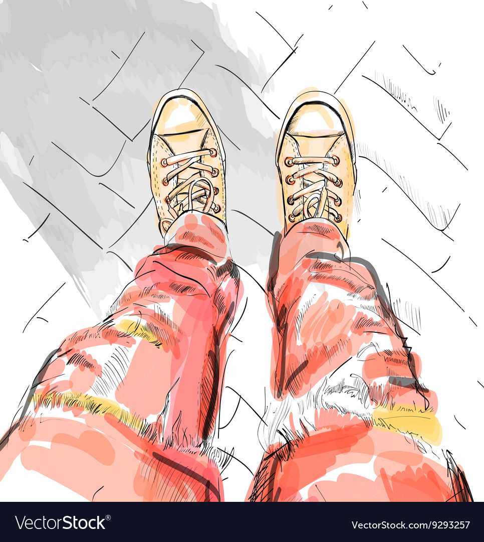 Legs with redjeans in gumshoes vector