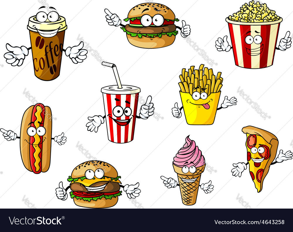 Cartoon fast food and takeaways characters vector