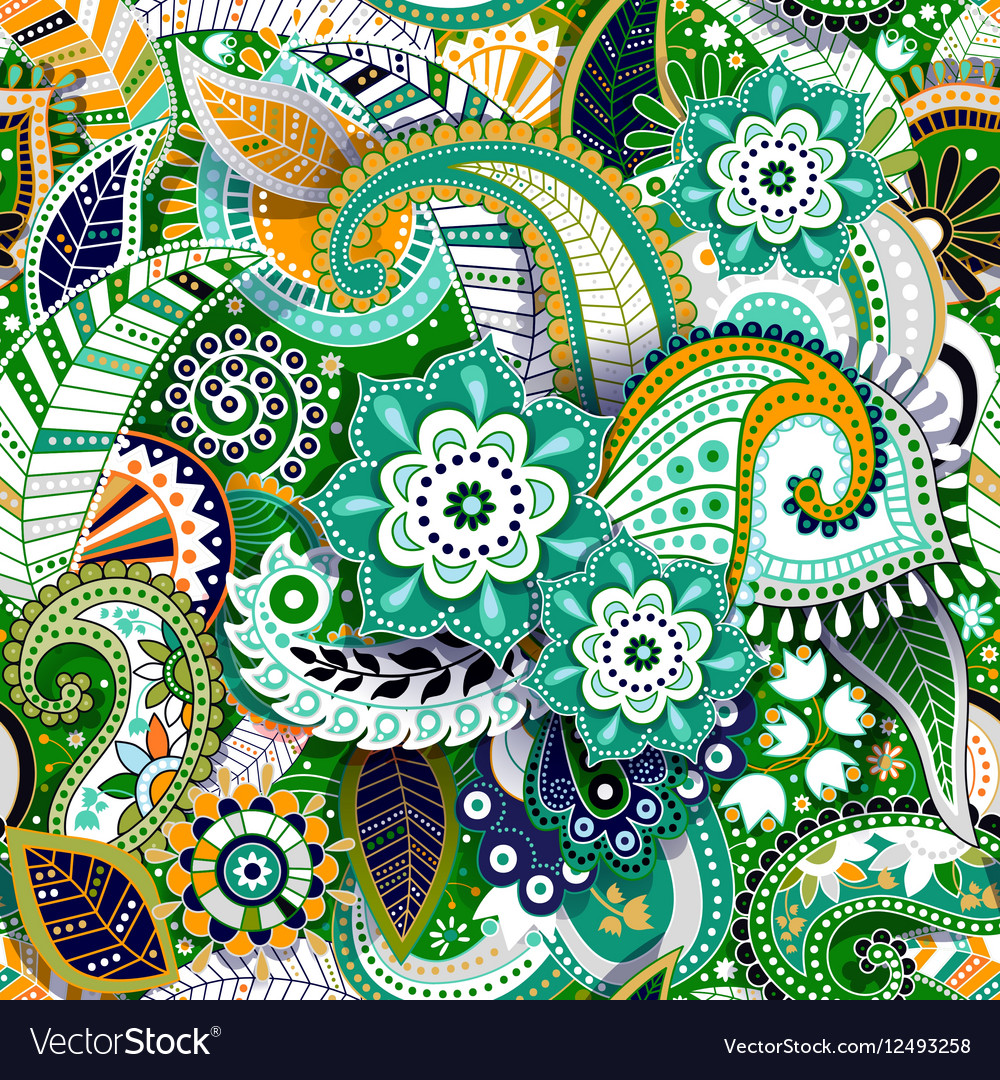 Colorful paisley seamless pattern original vector