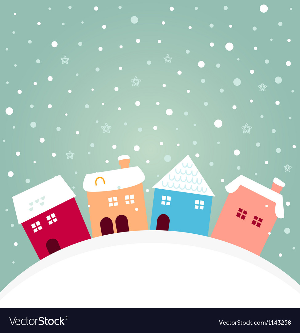 Colorful winter houses on hill with snowing behind vector
