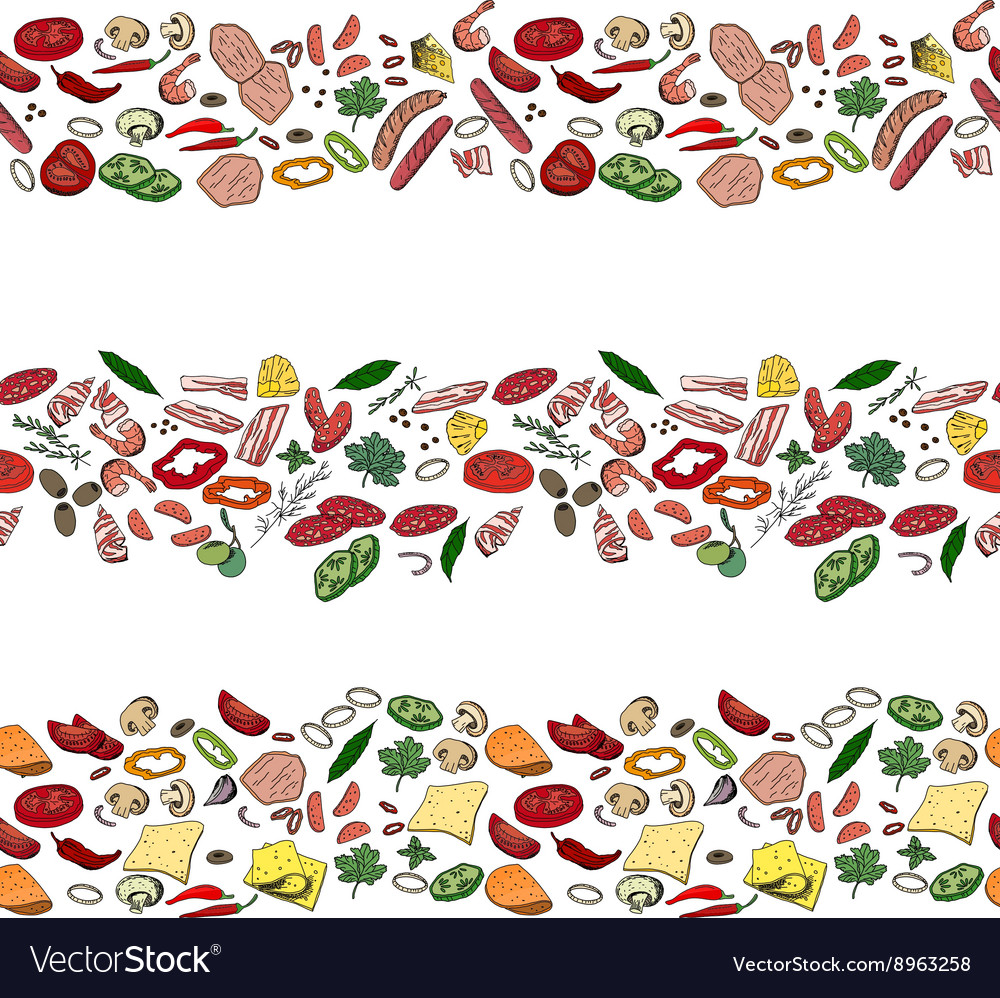 Seamless pattern brushes with different vegetables vector