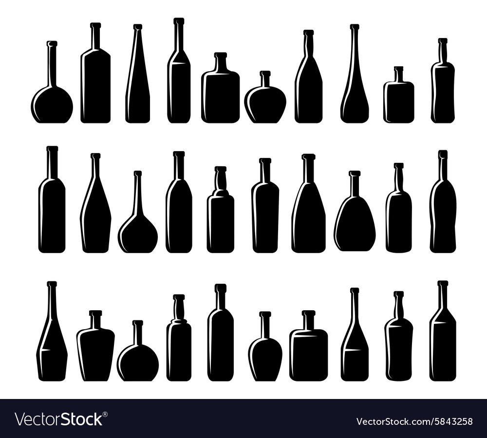 Wine and beer bottles silhouettes vector