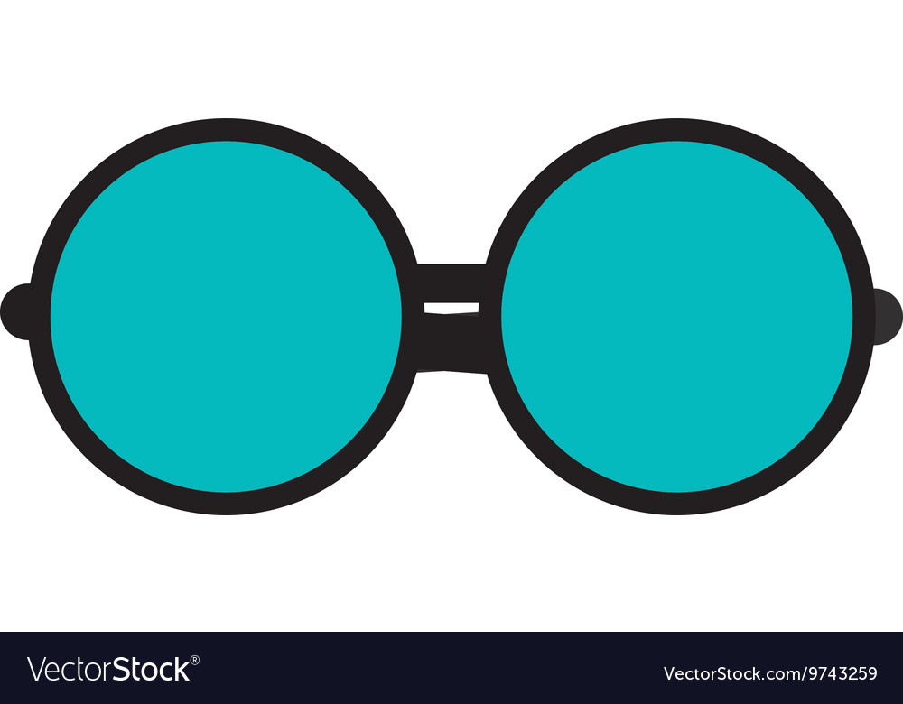 Round frame glasses icon vector