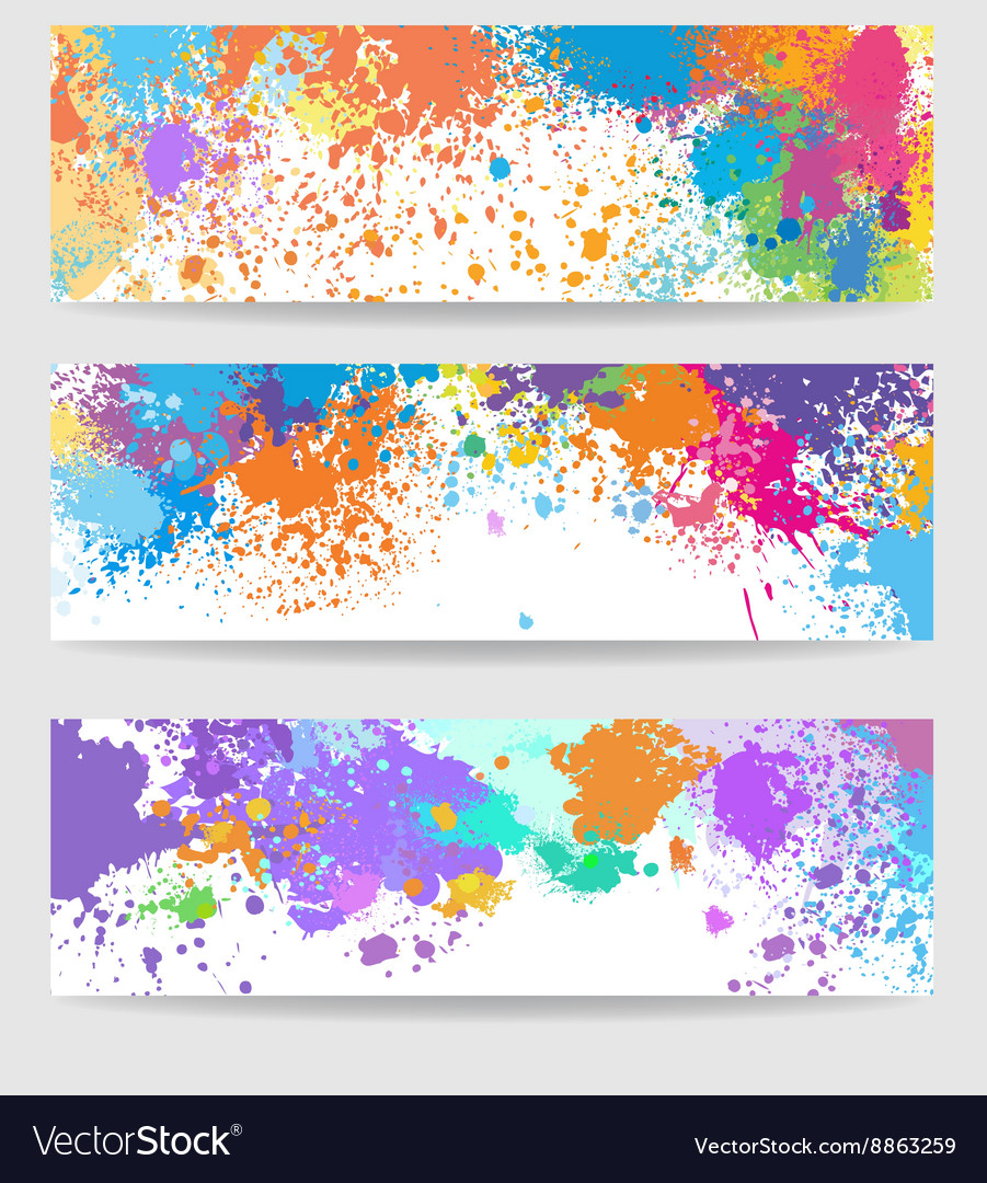 Set of three banners made of paint stains vector