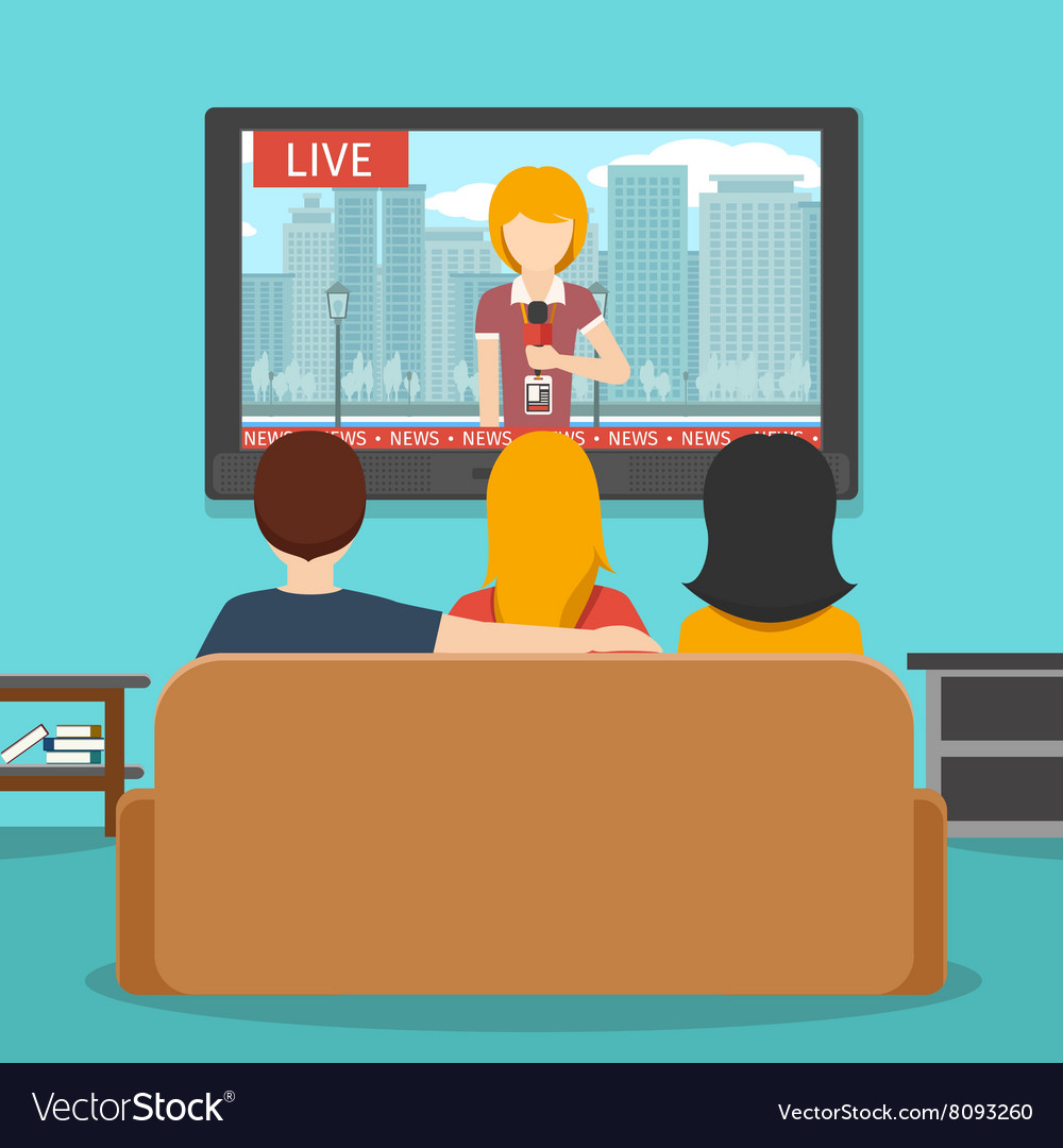 People watching news on television flat vector