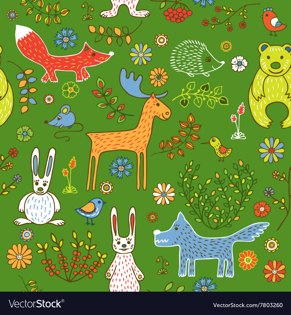 Seamless pattern of animals in the forest vector