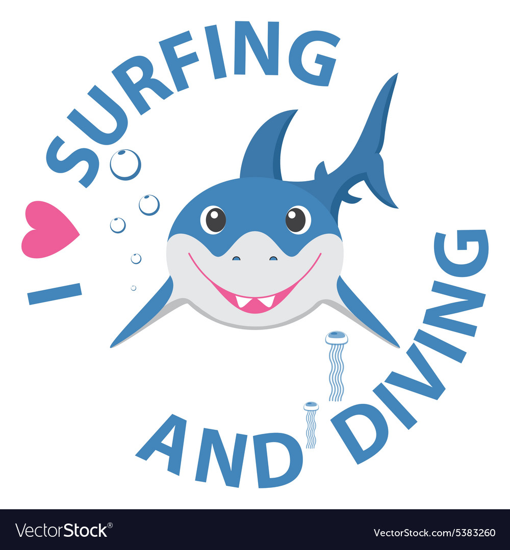 Surfing and diving summer theme with little vector