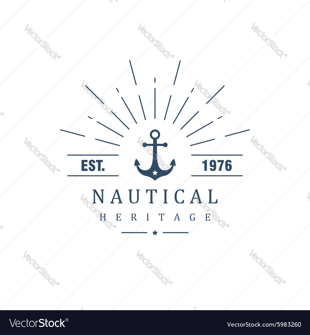 Vintage label with an anchor vector