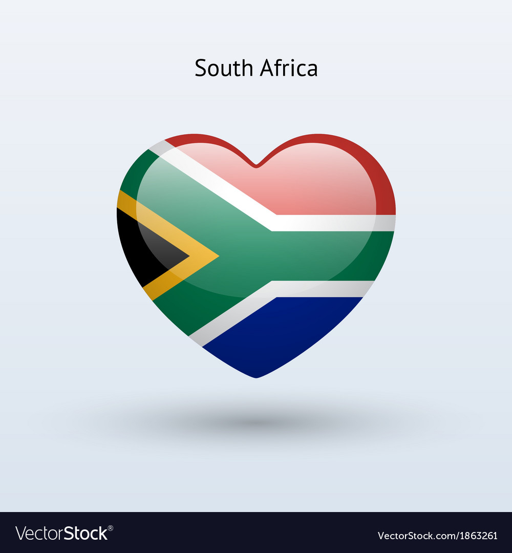 Love south africa symbol heart flag icon vector
