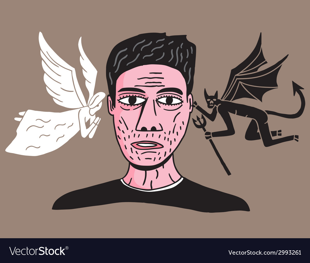 Man between angel and demon vector