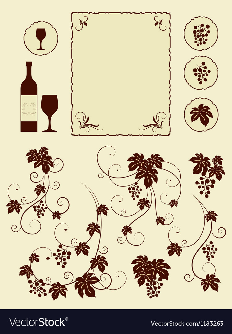 Grape vines and winery object silhouettes vector