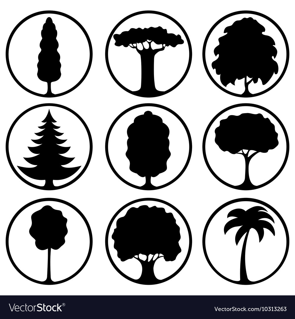 Icons of different trees vector