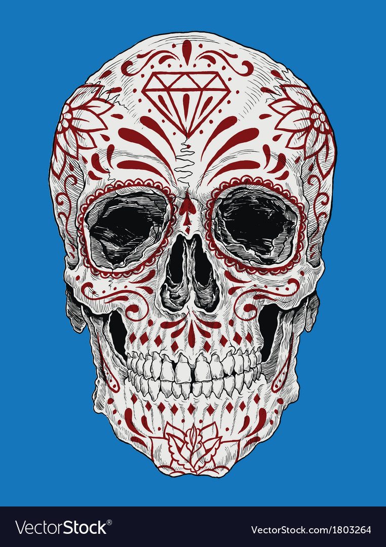 Realistic day of the dead sugar skull vector