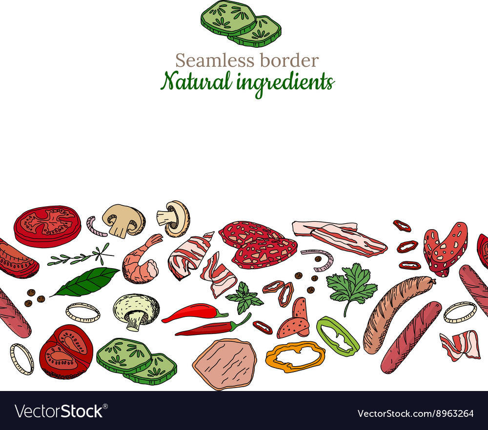 Seamless pattern brush with different vegetables vector