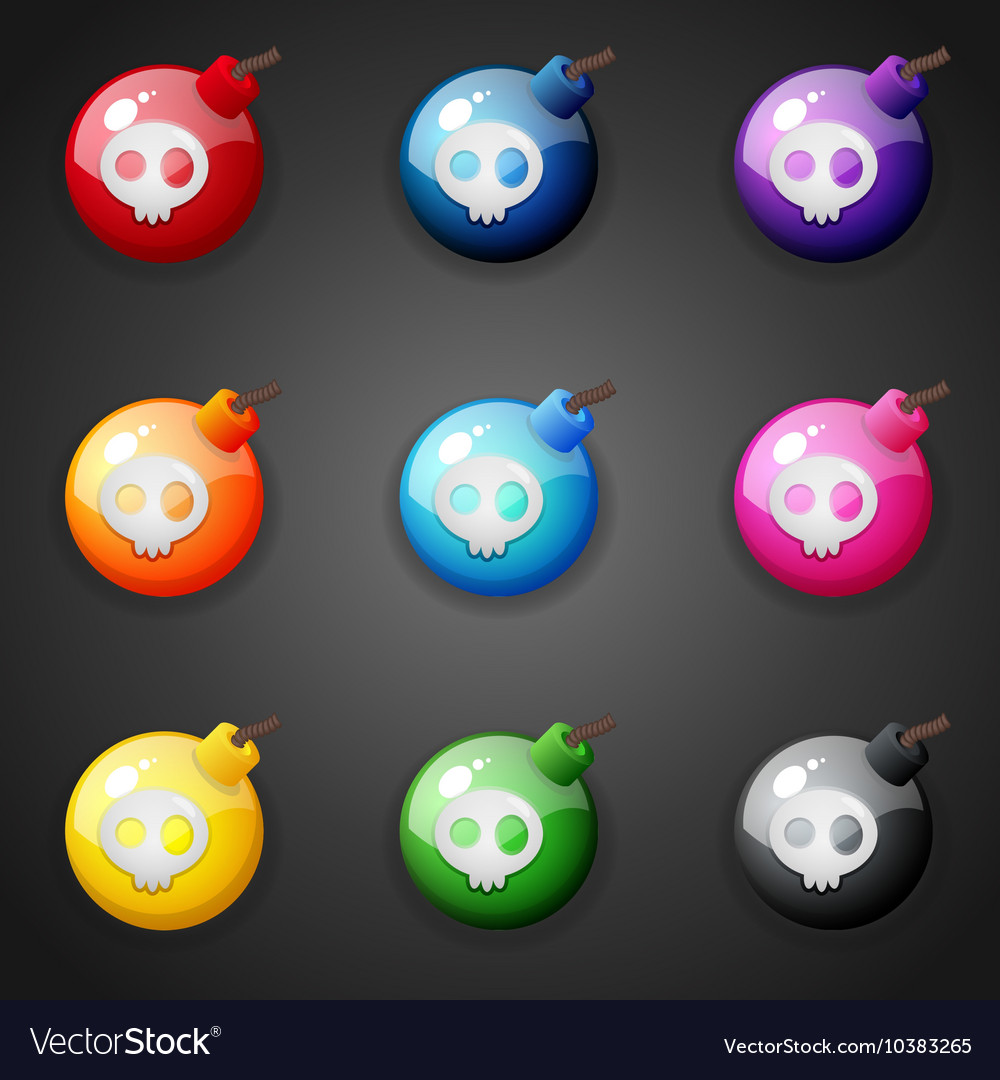 Bombs for match three game vector