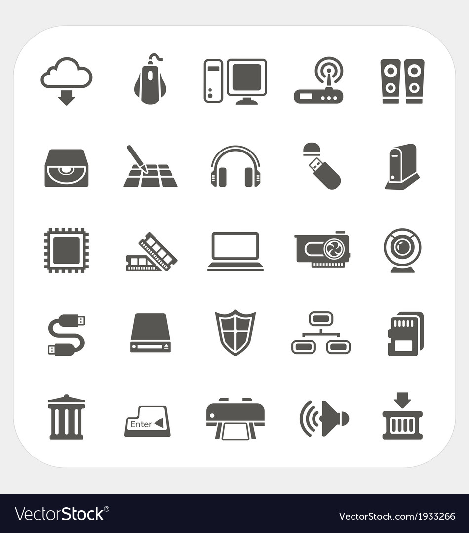 Computer hardware icons set vector