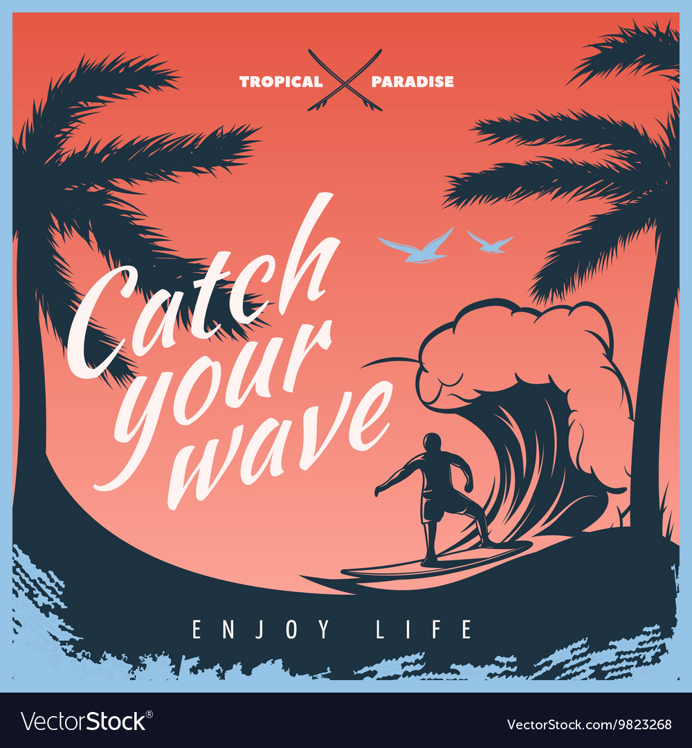 Colored surfing poster vector