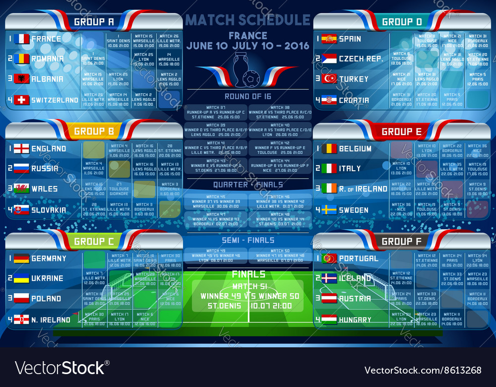 Cup euro 2016 finals schedule vector