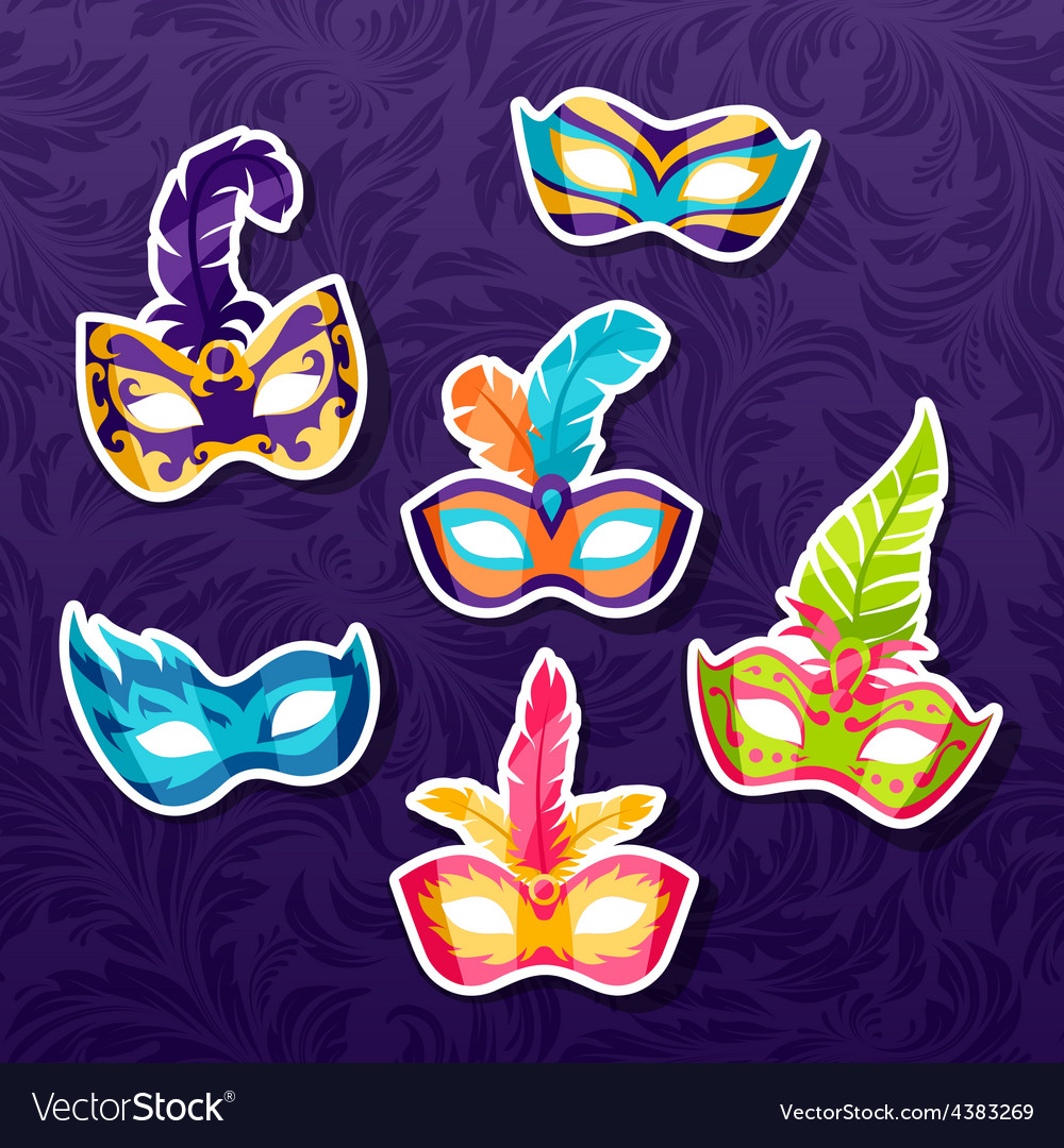 Set of celebration festival carnival masks vector
