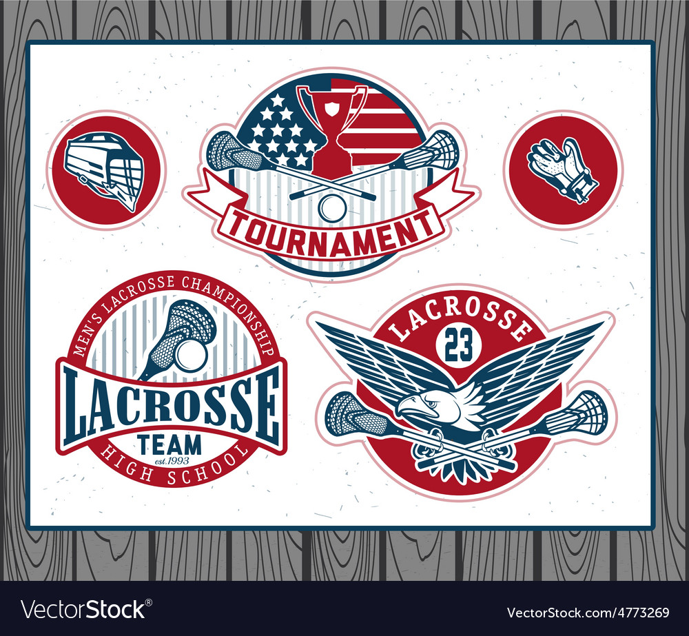 Set of vintage lacrosse labels and badges vector