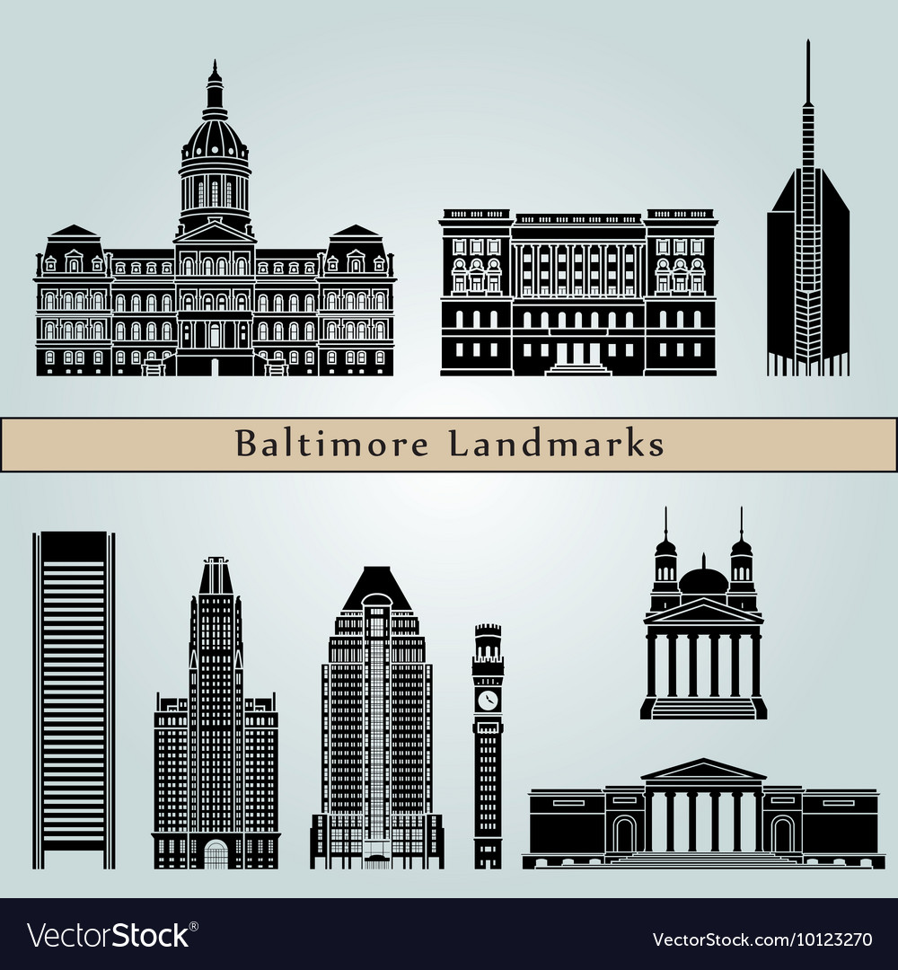 Baltimore landmarks and monuments vector