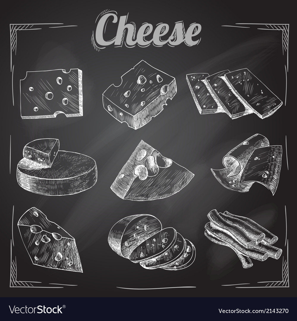 Cheese chalkboard collection vector