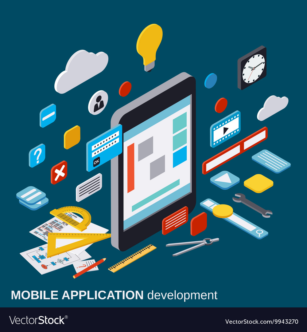 Mobile application development concept vector