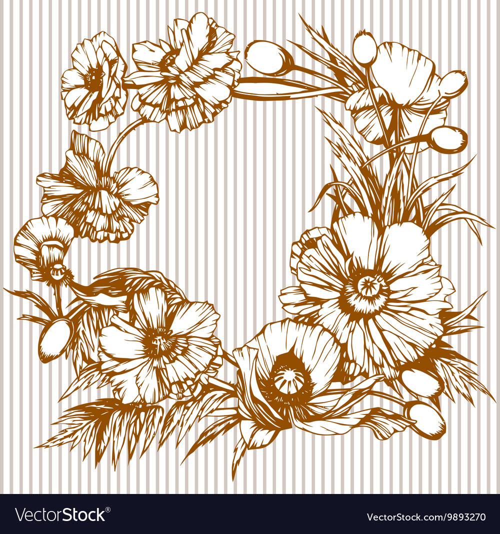 Poppies round one color vector