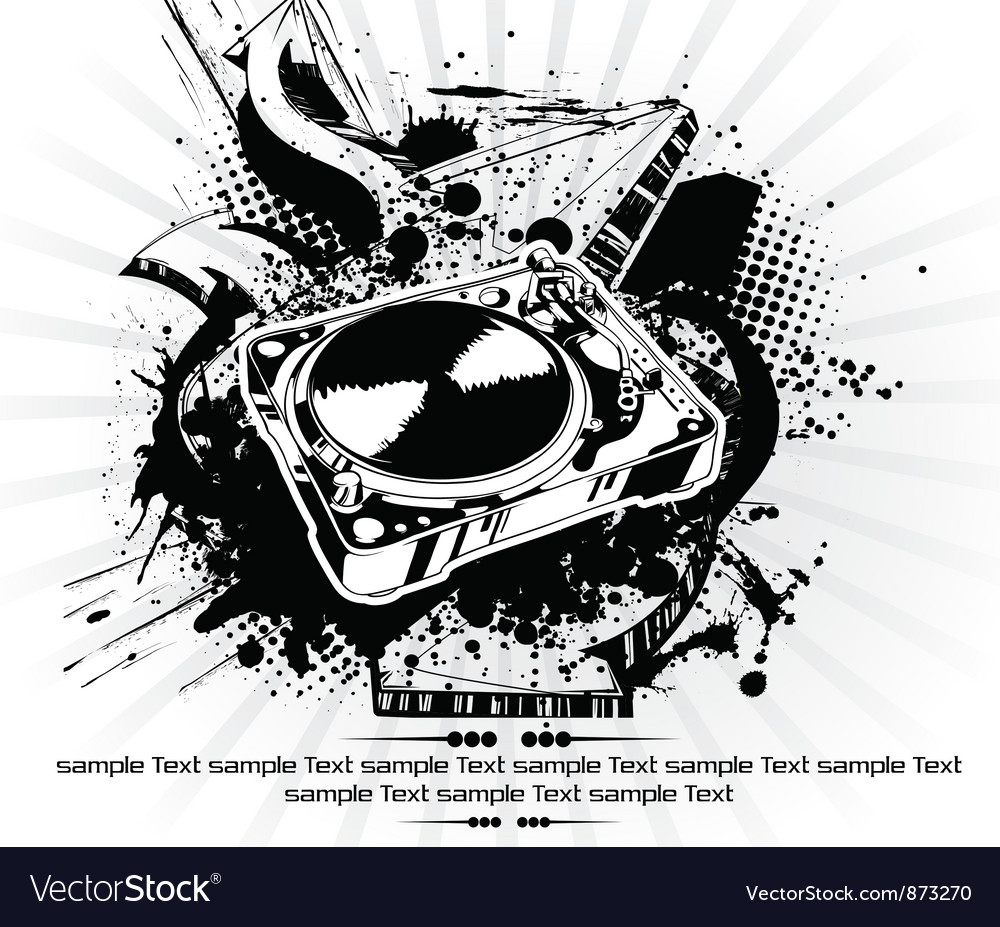 Turntable with grunge vector