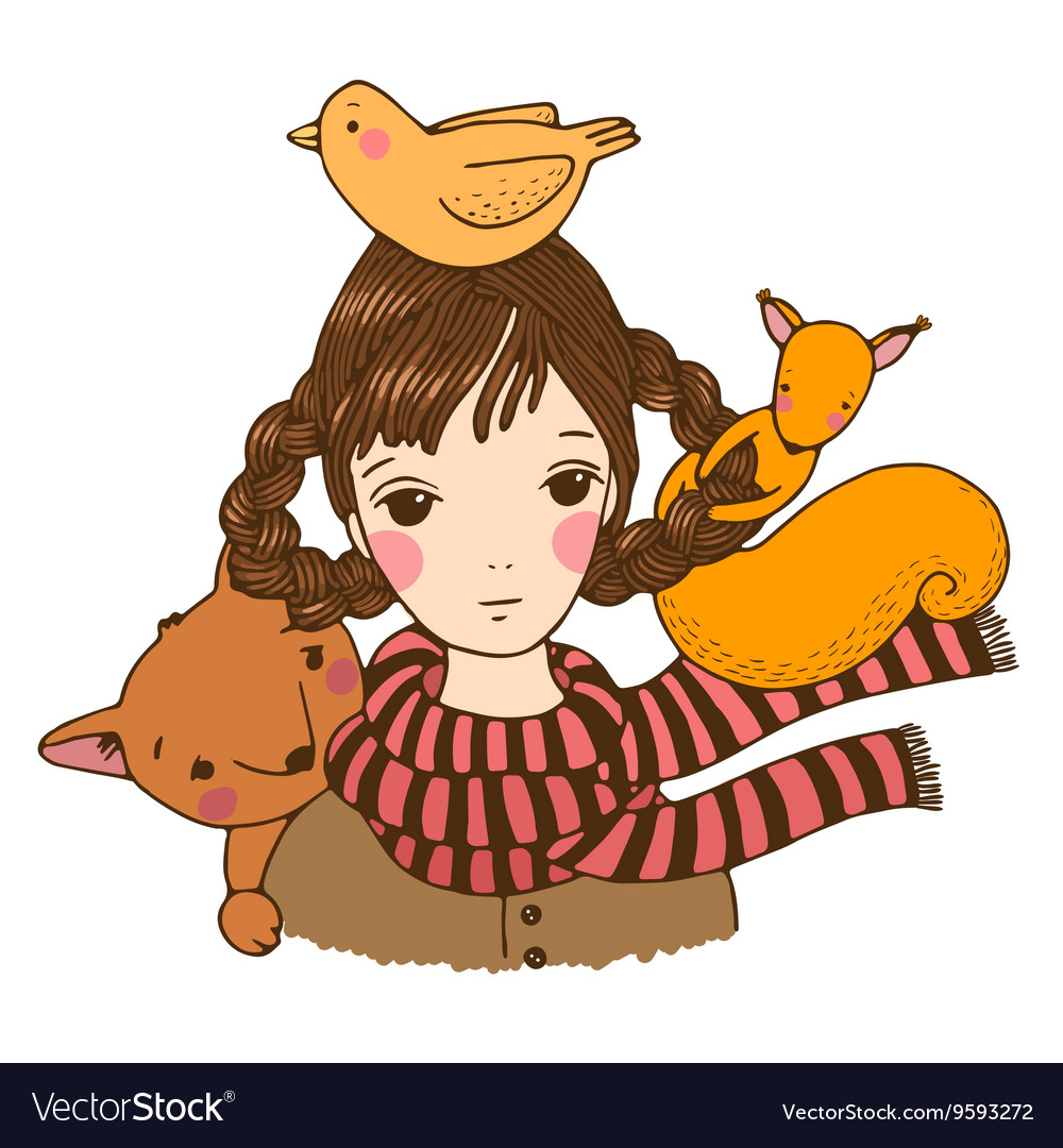 Beautiful young girl fox birds and squirrels vector